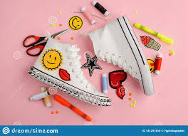 Custom Design Threads Sneakers Scissors Patches And Threads Stock Photo Image