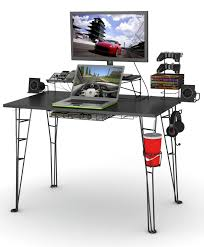 outstanding gaming computer desk designs with black wooden laminate pedestal on the desk using black metal black metal computer desk