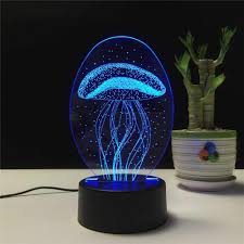 Jellyfish 3d Visual Illusion Lamp Transparent Acrylic Night Light Led Lamp 7 Color Changing Touch Table Lamp Kids Gift Lava Lamp
