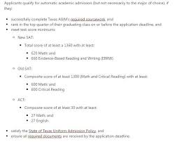 automatic admission requirements at texas universities brand a m auto admit