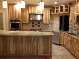 Kitchen Cabinet Granite Top Kitchen With Hickory Cabinets And Travertine Backsplash With