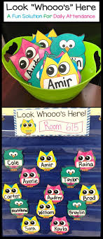 Whos Here Today Chart Owl Attendance Display Look Whos Here Name Cards Kid