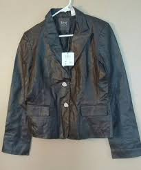 nwt tex by max azria women s l large chocolate brown 100 leather jacket