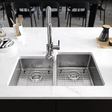 Rene Undermount Stainless Steel 31 14 In Right Double Bowl Kitchen