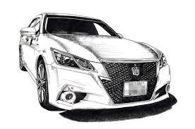Toyota Crown 車バイク好きへプレゼントにオーダーメイドのイラスト絵