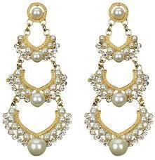 fashion new pearl pierced dangle chandelier earrings charm rhinestone crystals white gold