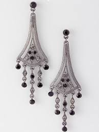 antiqued silvertone black crystal chandelier earrings antiqued silvertone black crystal chandelier earrings