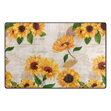yochoice non slip area rugs home decor vintage yellow watercolor sunflower fl floor mat living