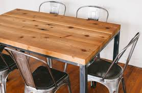 Wooden and metal chairs Retro Metal Alluring Reclaimed Wood Dining Table Design Rectangle Shape Solid Wood Dining Table Armless Metal Chairs Reclaimed Wood Dining Table Furniture Silver Color Elfemo Dining Room Alluring Reclaimed Wood Dining Table Design Rectangle