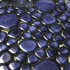 shipping free navy blue pebble ceramic mosaic tiles bathroom floor