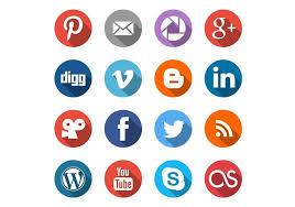 social media logos. round social media icons vector set logos