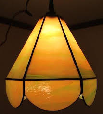 antique slag glass hanging lamp light fixture chandelier arts crafts mission