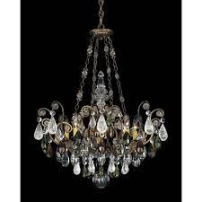 schonbek renaissance etruscan gold eight light olivine and smoke topaz crystal rock crystal chandelier 26 5w x 35h x 26 5d