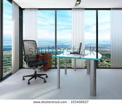 huge office desk. modern office interior with huge windows panoramic view desk i