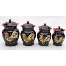 rooster black ceramic decorative kitchen canisters sets over small white kitchen shelf in white painted kitchen wall