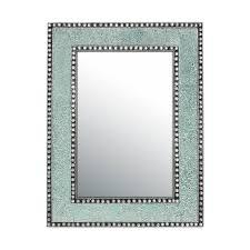 decors 24 x18 led glass mosaic framed rectangular decorative wall mirror mint green