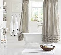 ticking stripe ruffled shower curtain
