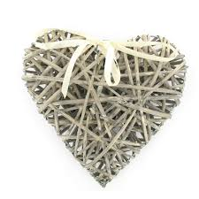natural wicker heart decoration 25cm x 25cm