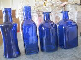 4 cobalt blue decorative colored glass bottles fl bud vase vintage inspired home decor wedding