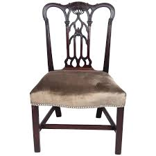 chippendale side chair. 18th Century English Gothic Chippendale Mahogany Side Chair In Grey Velvet For Sale At 1stdibs C
