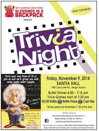 Trivia Night Flyer2018 Blessing In A Backpack Mi