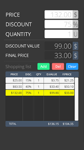 Shopping List Price Calculator Discount Calculator With Shopping List