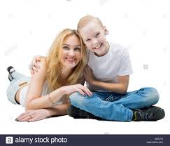 Middle aged woman against son