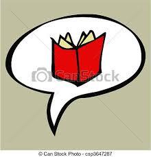 cartoon red open book in text balloon csp3647287