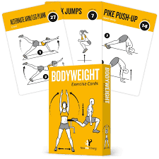 exercise cards bodyweight home gym workout personal trainer fitness program guide tones core ab legs