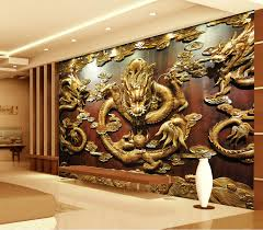 Small Picture Aliexpresscom Buy Custom 3D Wallpaper Wood carving Dragon Photo