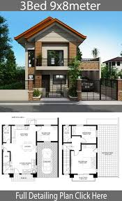 Home design plan 9x8m with 3 bedrooms - Home Design with Plansearch |  Philippines house design, Modern house floor plans, 2 storey house design