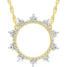 10k yellow gold diamond 1 5ctw crown circle necklace