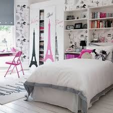 Impressive White Domination Pink Chair Cuute Teenage Girls Room Decor With  Eiffel Tower Theme  Stunning Cute Bedroom Ideas ...