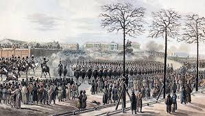лет назад на Сенатской площади произошло восстание декабристов  Санкт Петербург Сенатская площадь 14 декабря 1825 года Рисунок Кольмана из кабинета графа