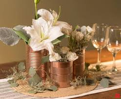 Create Shiny Copper Cans as Budget-Friendly Floral Wedding Centerpieces  with Bright Coat Spray
