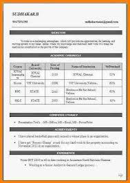 Resume Format For Bcom Freshers Download