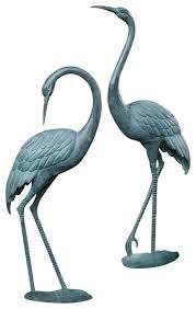 garden cranes. cast aluminum crane pair statues verdigris finish asian garden statue cranes i