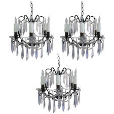 set of three french crystal chandeliers circa 1930