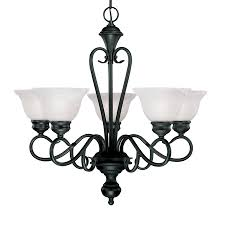 black chandelier lighting. Millennium Lighting Devonshire 25.5-in 5-Light Black Wrought Iron Alabaster Glass Shaded Chandelier