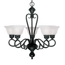 millennium lighting devonshire 25 5 in 5 light black wrought iron alabaster glass shaded chandelier