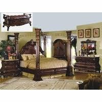 master bedroom furniture sets. Traditional Cherry Poster Canopy Bed Leather \u0026 Marble Master 4pc Bedroom Set Furniture Sets