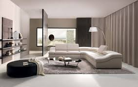 beautiful simple living room design with white sectional sofa and rounded black ottoman furnished with gray fur rug and completed with gray curtains ideas beautiful simple living