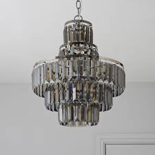 Charlene Cut Glass Smoked 3 Lamp Pendant Ceiling Light | Departments | DIY  at B&Q