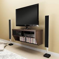 Rustic Brown Stained Wooden Wall Mounted TV Cabinet Console With CD And DVD  Storage, Captivating