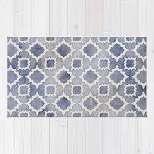 worn faded navy denim moroccan pattern in grey blue white rug