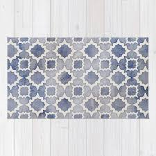 worn faded navy denim moroccan pattern in grey blue white rug