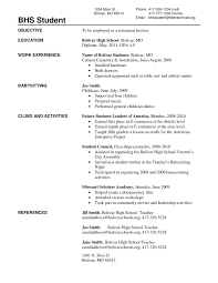 High School Student Resume With No Work Experience Professional