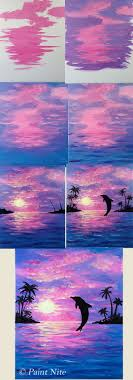 step by step painting dolphin joy beginner painting idea dolphin jumping into purple pink sunset