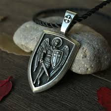archangel st michael protector shield pendant necklace