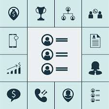 Resume Navigation Fascinating Set Of Hr Icons On Phone Conference Money Navigation And Tree